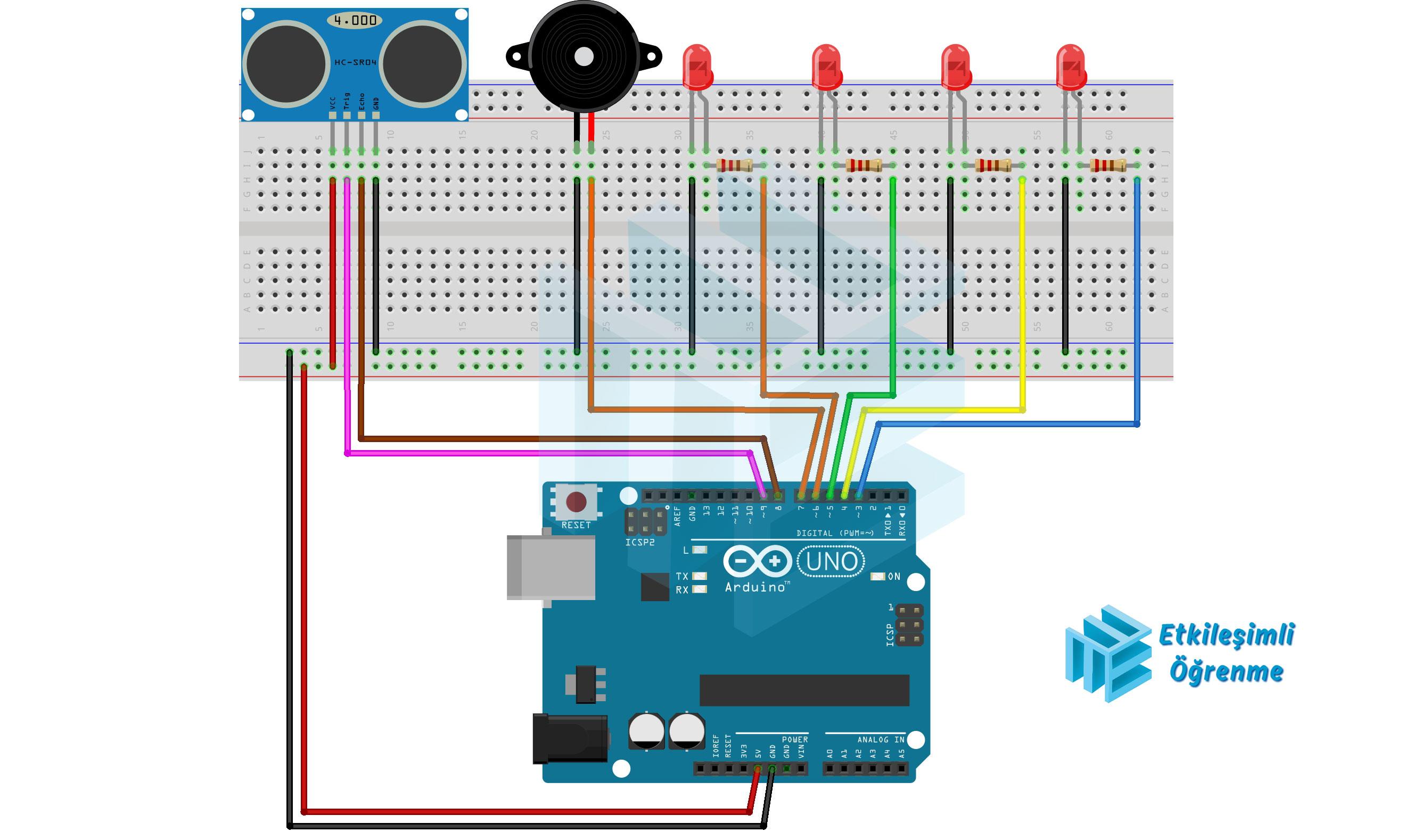 Ultrasonik Sensör ve Buzzer Kullanımı (Park Sensörü)