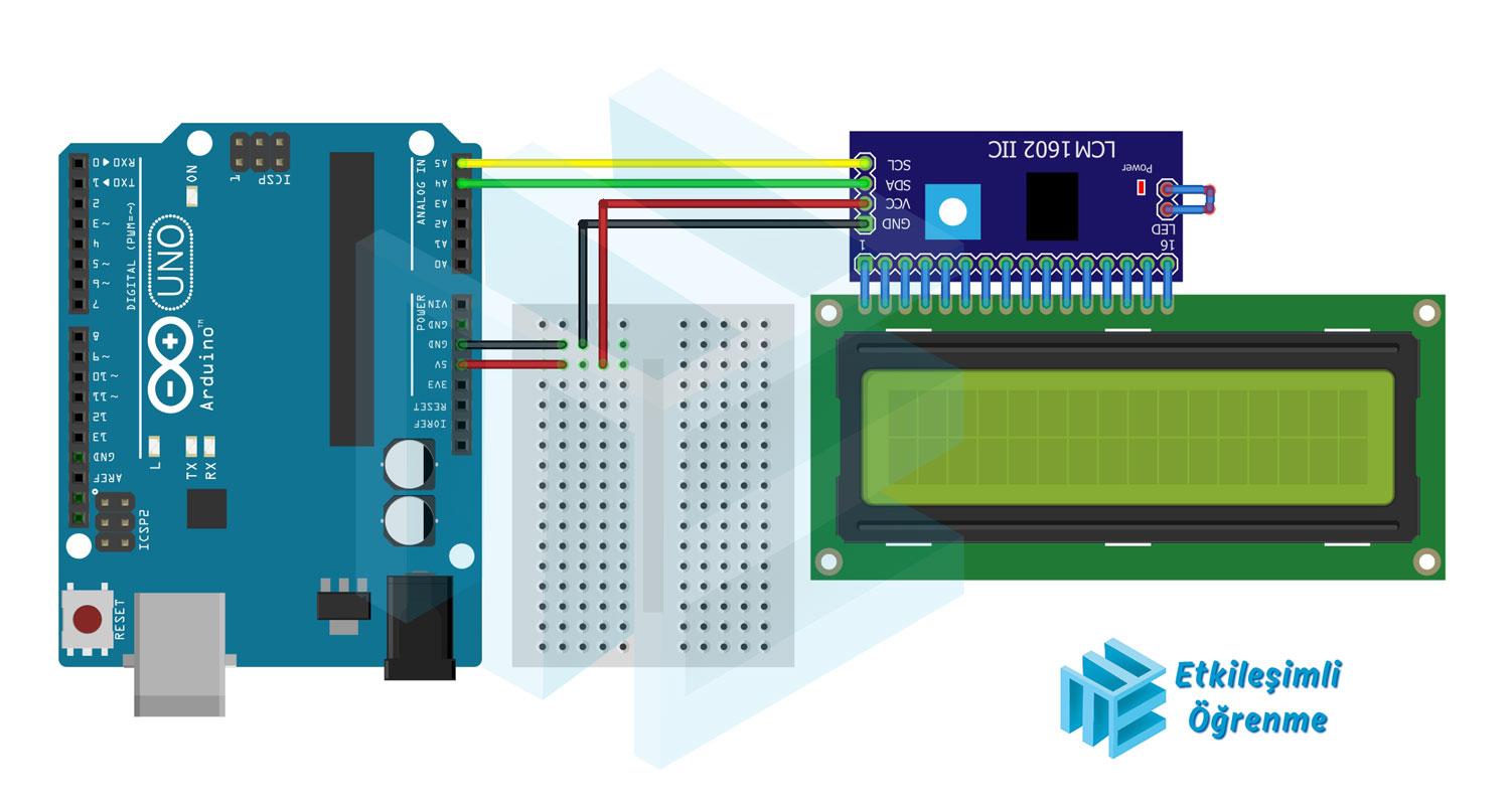16X2 LCD Ekran ve I2C 1602 Arayüzü Modülü Kullanımı - (Kayan Yazı)