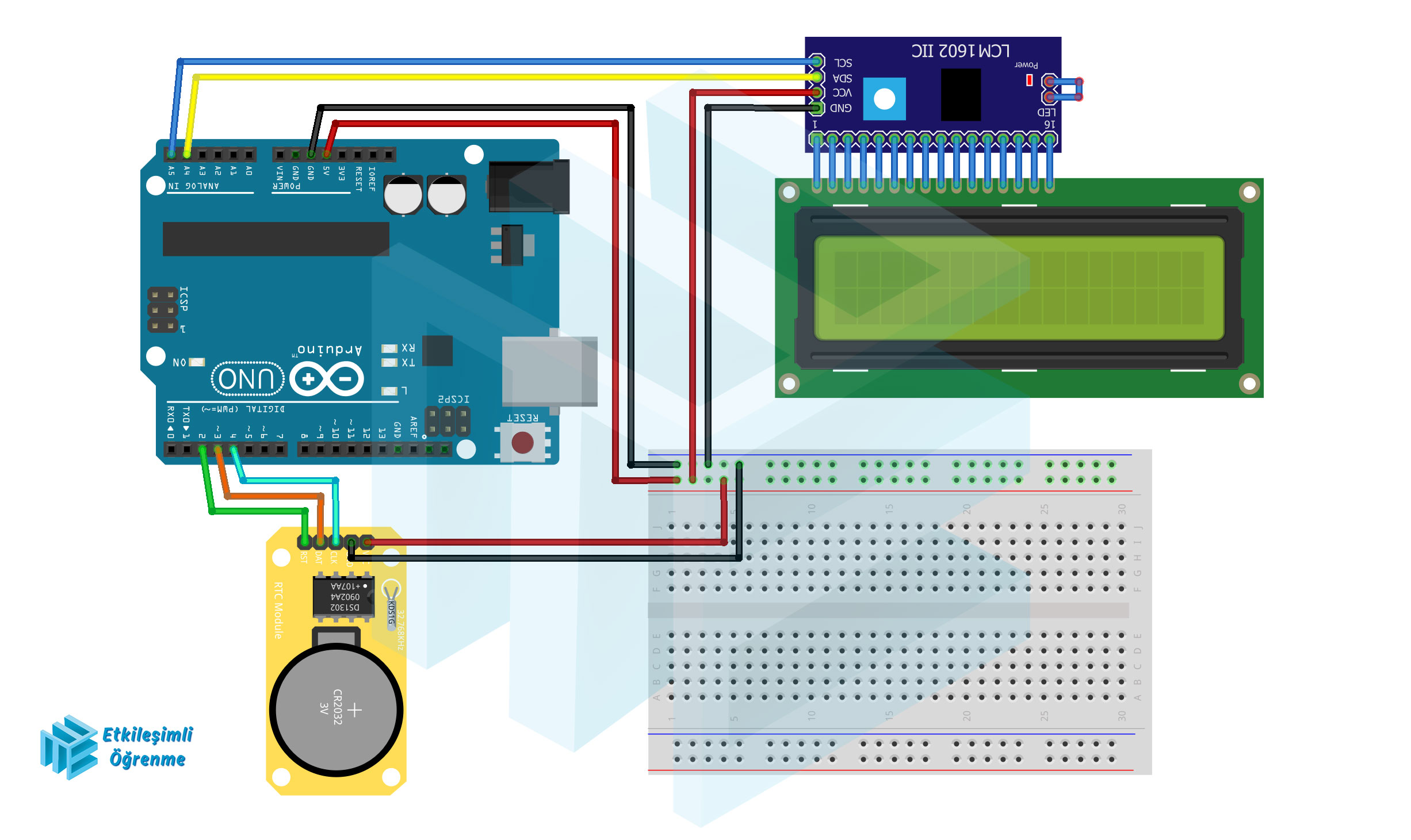 DS1302 Saat Modülü ve LCD 16x2 Kullanımı. (Tarih ve Saat Projesi)