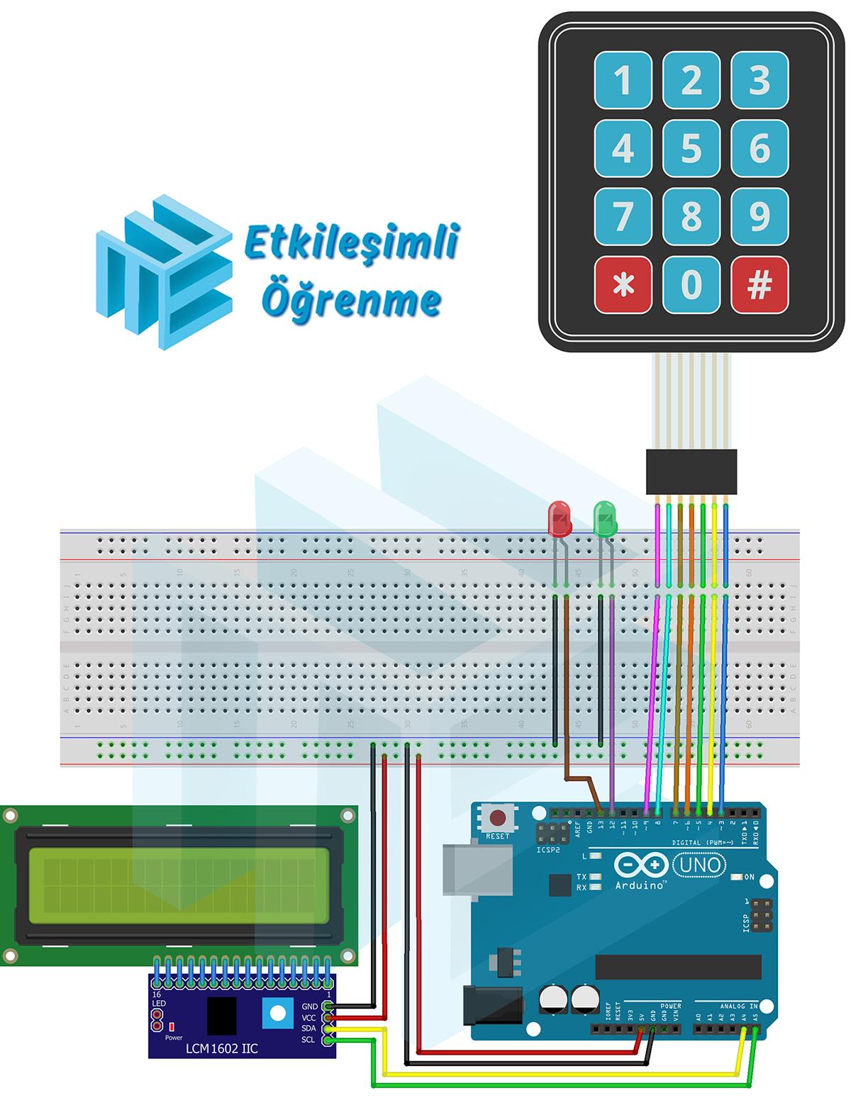 3x4 Membran Tuş Takımı ve LCD Kulllanımı (Şifre onayı)