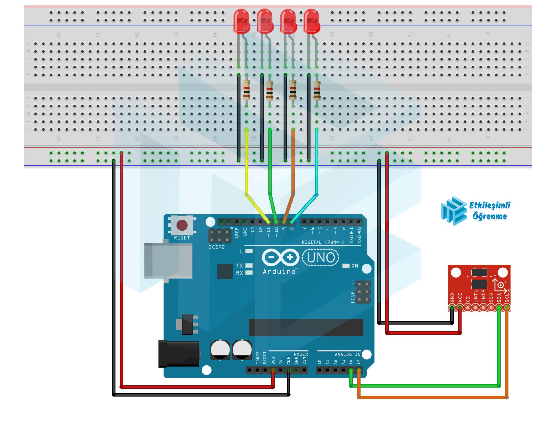 Arduino ile ADXL345 İvme Ölçer Kullanımı