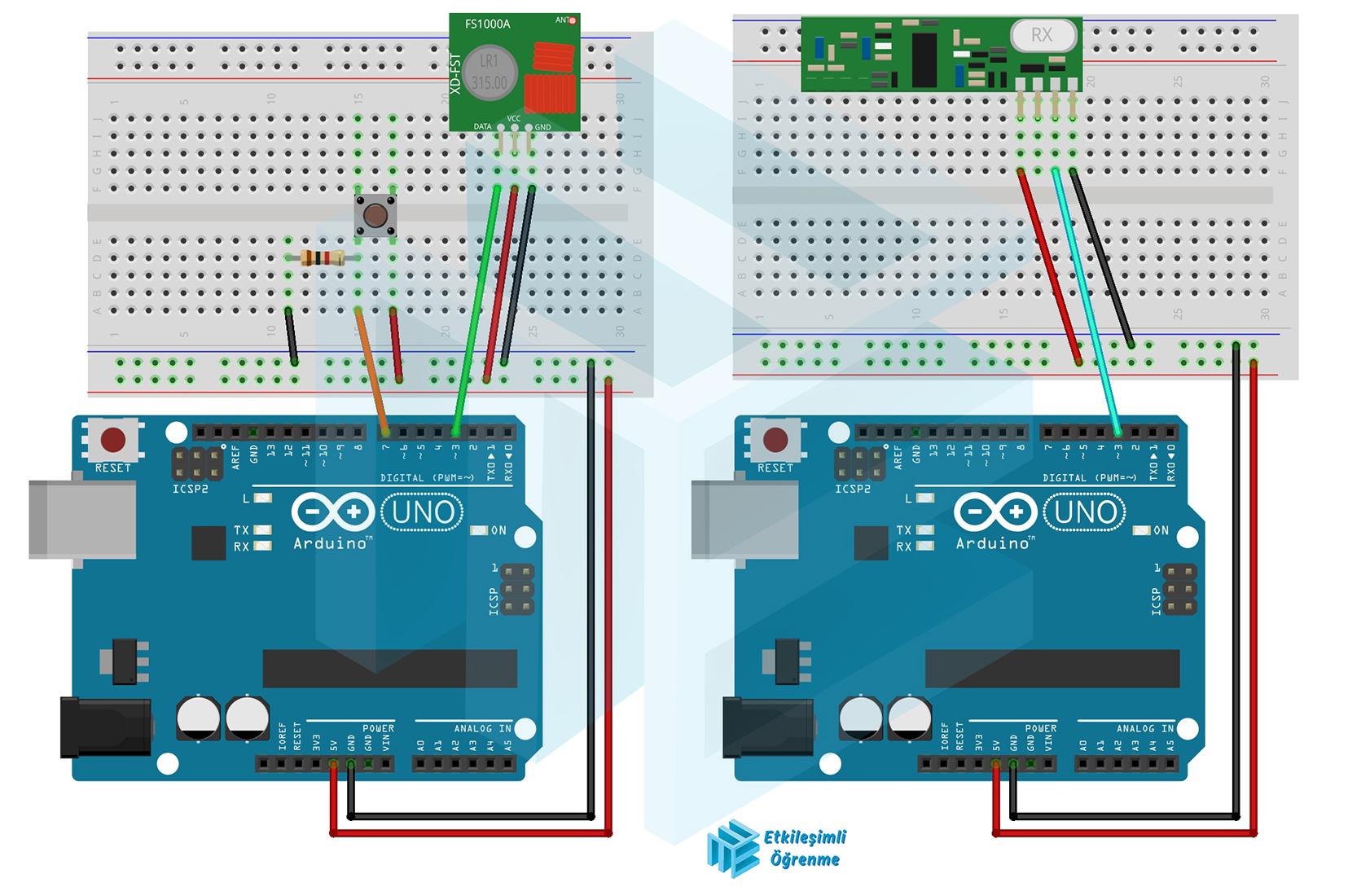 RF 433 Mhz Kablosuz İletişim Modülü Kullanımı