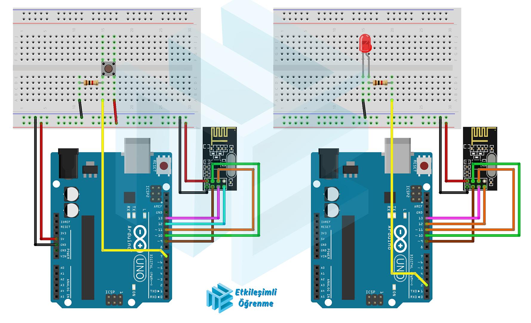 İki Adet NRF24L01 Kablosuz İletişim Modülünün Haberleşmesi