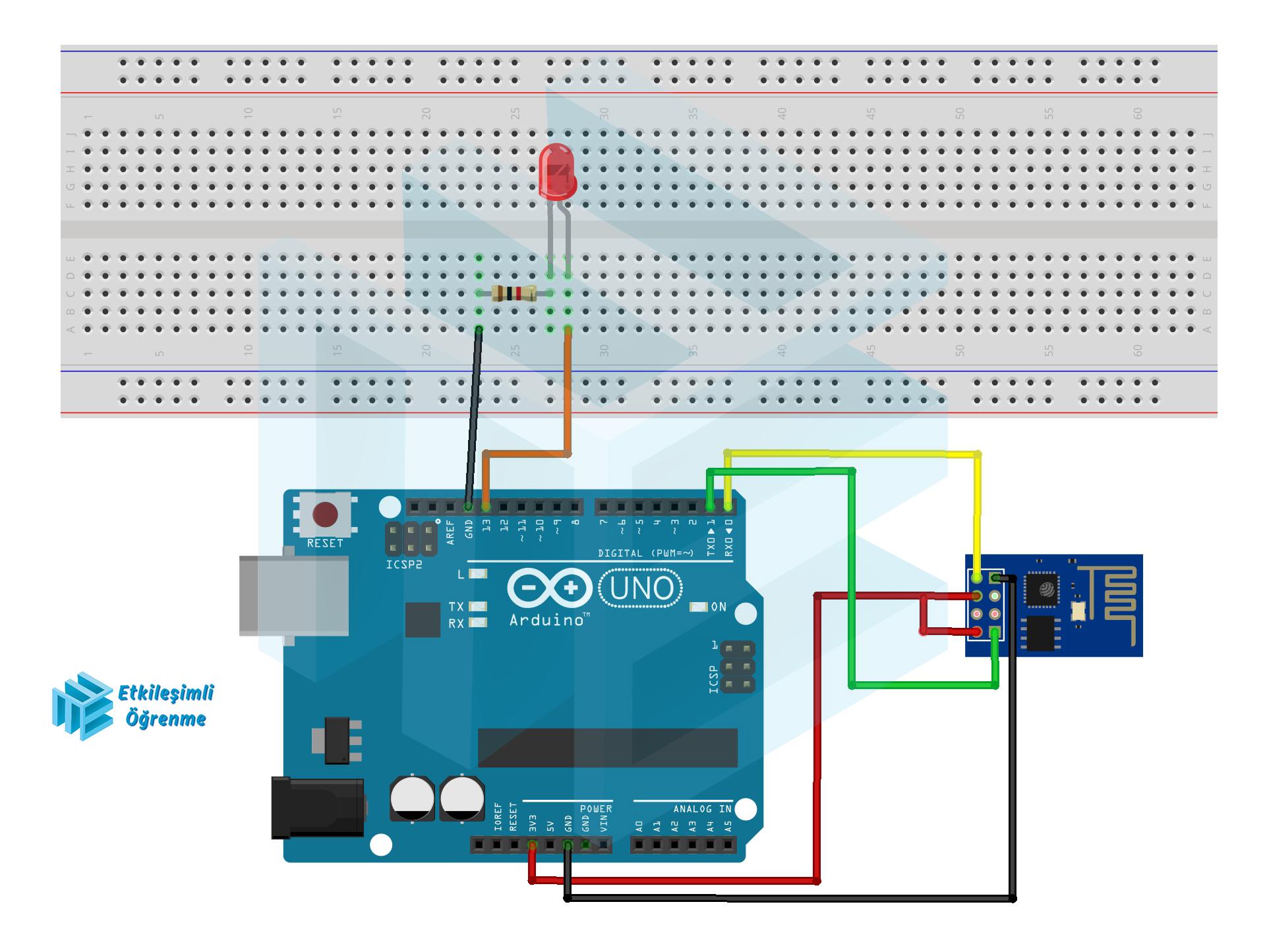 Arduino ile ESP8266 WiFi Modülü Kullanarak İnternet Üzerinden Led Yakma